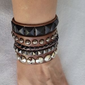 3 pc Unisex Rivet Gothic Brown bracelet set